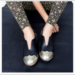 Imelda Gold and Black Loafers